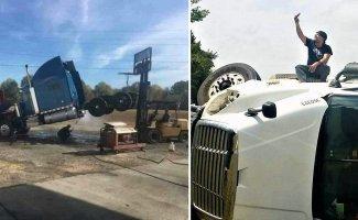 Необычные происшествия, которые могли случиться только с водителями грузовиков (11фото+11гиф)