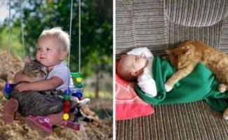 Это милые фото доказывают, что каждому ребенку нужна кошка (11фото)