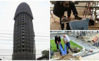 Опытные строители могут бриться даже с монтажной пеной (19фото)