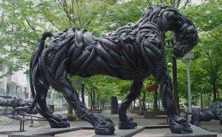 Скульптуры из автомобильных шин (21фото)