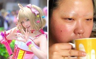 Японские косплееры устроили флешмоб и показали, как выглядят в образе и в обычной жизни (19фото)