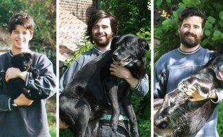 Выросли вместе: собаки и их хозяева в начале дружбы и через много лет (29фото)